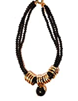 Daamak Black beads necklace with golden rings for women