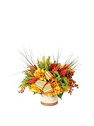 Creative Displays Cluster Harvest Arrangement with Gathered Wheat, Astilbe, Berries & Hydrangeas in Vintage Label Container, Green/Gold/Rust