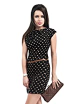 Zovi Black And Brown Polka Dress With Cowls