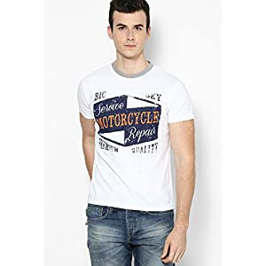 Smart White Slub Jersey Cut & Sew Crew Neck T Shirt With Crack Print