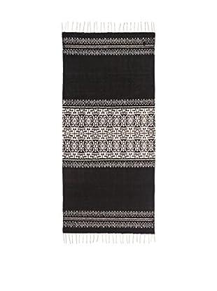 Concept Luxury Teppich Fringes weiß/schwarz