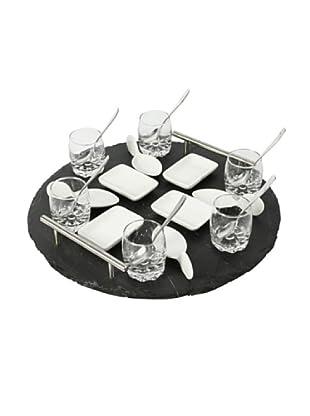 Delys-by-Crealys Set de mini aperitivos 21 piezas con bandeja de pizarra
