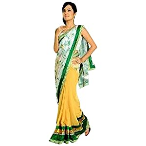 Elegant White and Yellow Embroidered Saree By Aakriti