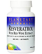 Planetary Herbals Resveratrol Extract with Red Wine Tablets, 60 Count