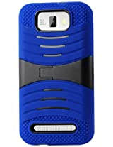 Reiko Silicon Case and Protector Cover with New Kickstand for BLU Studio 5.5 D610A, D610I - Retail Packaging - Navy Black