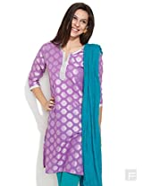 Woven Summer Wonder Kurta -Purple-L