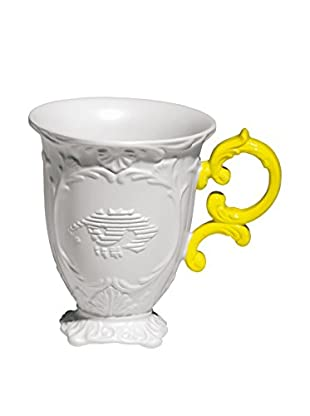 Seletti Porcelain I-Mug, White/Yellow