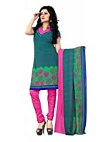 Khushali Presents Georgette Chudidar Dress Material(Green,Multi,Pink)