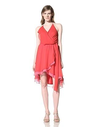 Alexia Admor Women's Two-Tone Silk Wrap Halter Dress (Barbados Cherry/Pink)