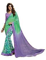 Inddus Women Green & Purple Georgette Printed saree