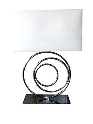 Finesse Décor Clique & Shade 2-Light Table Lamp, Chrome/White