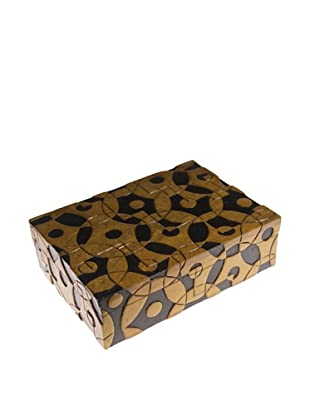 The Niger Bend Rectangular Soapstone Box with Contemporary Circles Design, Black