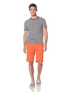 Benson Men's Short Sleeve Stripe Crew Tee (Navy/Ecru)