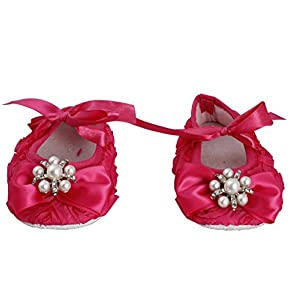 Crystal bow rosette Crib Shoes - Hot Pink (0-3 Months)