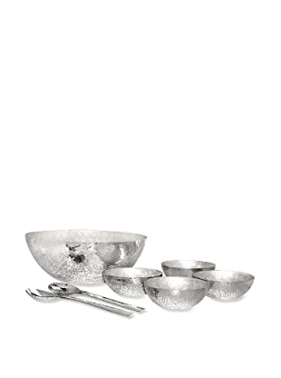Pomeroy Reef Salad Set, Hammered Aluminum/Pearl