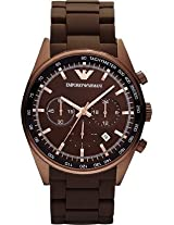 Armani Sportivo AR5982 Brown Round Dial Stainless Steel Strap Chronograph Watch - For Men