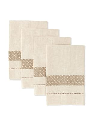 D.L. Rhein Set of 4 Banded Fan Guest Towels (Taupe)