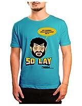 Bushirt Men's Round Neck Cotton T-Shirt (DN00092- Sholay_Blue_XX-Large)