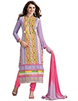 Vibes Womens Georgette Patch Work Straight Dress Material (V205-9 _Purple _Free Size)