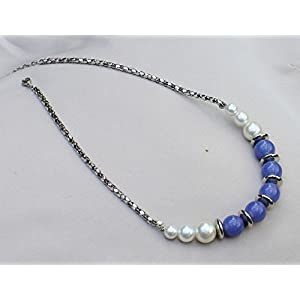 No Strings Attached Silver Night Blue White Pearl Necklace