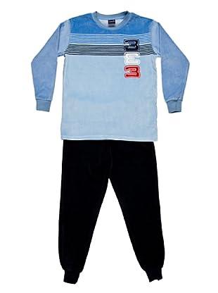 Basket Pijama Velour Cuello Redondo Bordado (Azul)