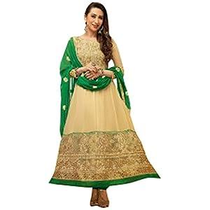 Karishma Kapoor Cream and Green Colour Georgette Anarkali Salwar Kameez