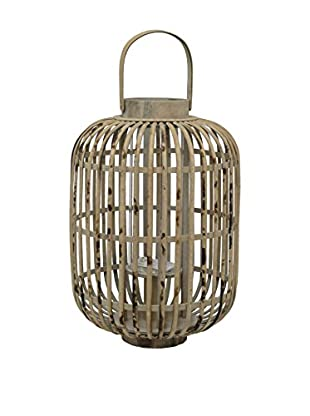 Three Hands Large Caged Bamboo Lantern, Brown