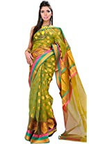 Exotic India Herbal-Garden Banarasi Saree with Woven Bootis and Tri-Colo - Green