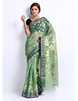 Bunkar Baranasi Blue Saree for women