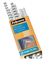 """Fellowes Plastic Binding Combs, Round Back, 1/2"""", 90 Sheet Capacity, White, 25 Pack (52332)"""