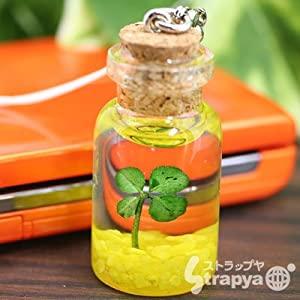 四葉のクローバーの小瓶携帯ストラップ