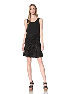 Desigual Women's Brocade A-Line Skirt (Black/Multi)