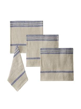 Found Object Marseille Set of 4 Linen/Cotton Napkins, Khaki/Blue