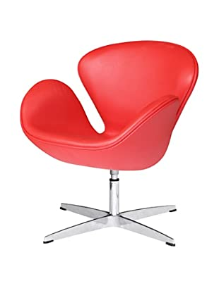 Manhattan Living Swan Leather Chair, Red