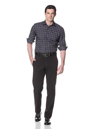 Incotex Ivory Men's Wool Flat Front Trouser (Charcoal)