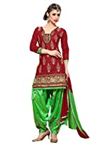 Suchi Fashion Maroon & Green Cotton Embroidered Patiyala Suit Dress Material