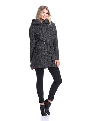 Coffeeshop Women's Hooded Coat with Belt (Charcoal)