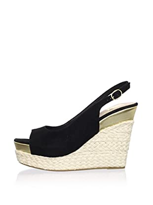 Dolce Vita Women's Joss Wedge Sandal (Black Suede)