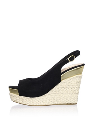Dolce Vita Women's Joss Wedge Sandal (Black Suede)