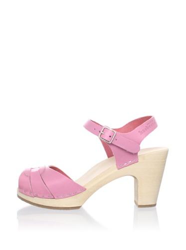 Swedish Hasbeens Women's Peep-Toe Buckle Sandal (Bubble Gum)