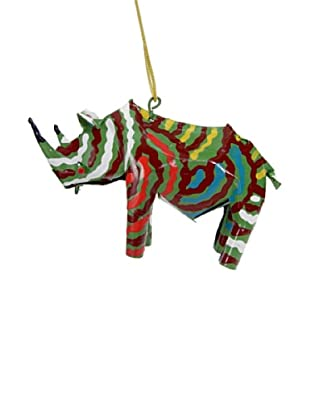 Mbare Painted Tin Rhino Ornament (Multi)