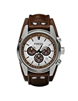 Fossil CH2565 Silver Round Dial Leather Strap Chronograph Watch - For Men