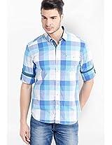 Checked Aqua Blue Casual Shirt