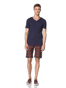 Vanishing Elephant Men's Short Sleeve V-Neck T-Shirt (Navy)