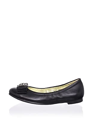 Pliner Jrs Emery Flat with Bow (Black Leather)