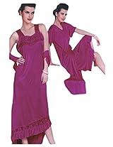 Indiatrendzs Women's Sexy Hot Nighty Dark Pink 2pc Set Bedroom Nightwear