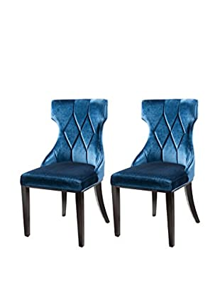 International Design Reine Set of 2 Dining Chairs, Cobalt Blue
