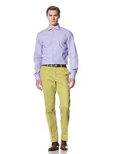 Domenico Vacca Men's Check Button-Up Shirt (White/Small Blue Check)