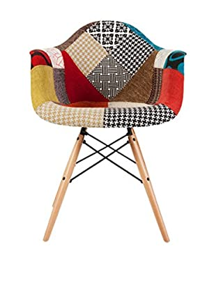 Macer Home Wood Legs Arm Chair, Patchwork