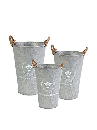 Set of 3 Maison Tin Planters